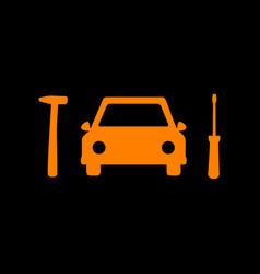 Car tire repair service sign orange icon on black vector