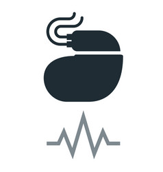 Cardiac pacemaker simple icon with pulse tracing vector