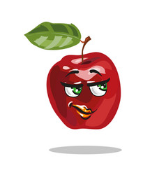 cartoon apple character with smart look vector image vector image