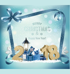 Christmas holiday background with 2018 and gift vector