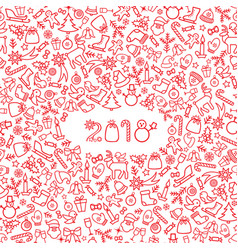 christmas icon holiday background happy new 2018 vector image