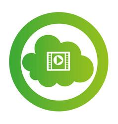 Color circular emblem with video cloud service vector
