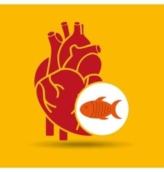 concept healthy heart fish fresh icon vector image