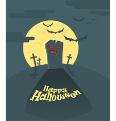Dark cemetery in a full moon happy halloween vector