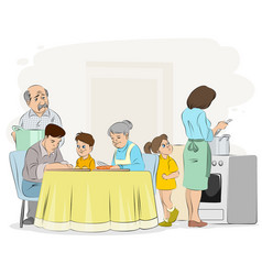 Family preparing dinner vector