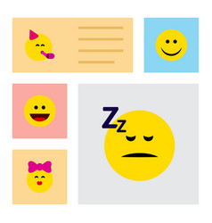 flat icon face set of caress party time emoticon vector image