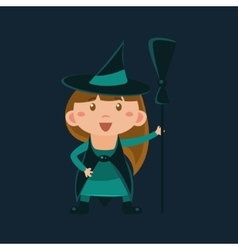 Girl in wizard of oz witch haloween disguise vector