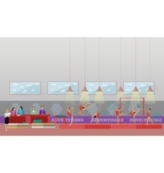 Gymnastic sport competition arena interior vector image