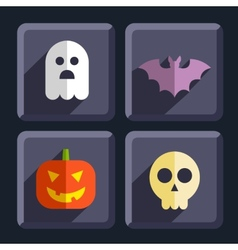 Halloween flat icons badges set vector