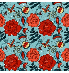 Halloween floral seamless pattern in doodle style vector image