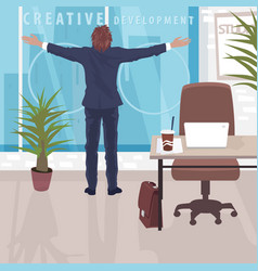 Happy businessman near panoramic window in office vector