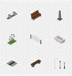 Isometric city set of path highway street vector