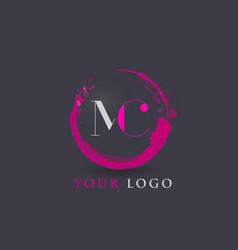 Mc letter logo circular purple splash brush vector
