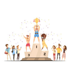 Medal stand honouring composition vector