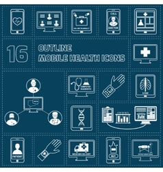 Mobile health icons set outline vector image