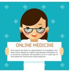 Online medicine banner Woman doctor shows text vector image vector image