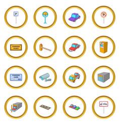 Parking items icons circle vector