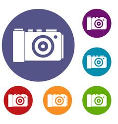 photo camera icons set vector image vector image