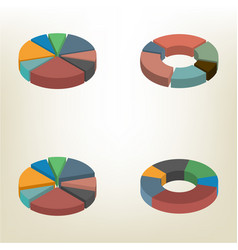 Pie chart isometric vector