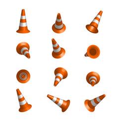 realistic traffic cones vector image