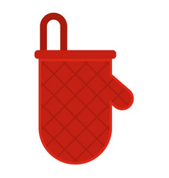 Red oven mitten icon isolated vector