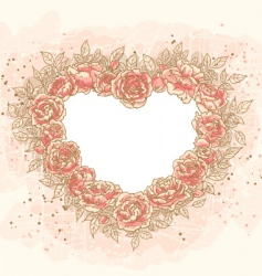 romantic heart frame with rose vector image vector image