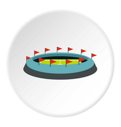 Round stadium with flags icon circle vector