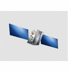 Satellite flying on transparent background vector