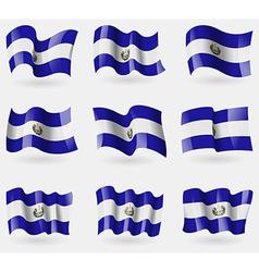 Set of el salvador flags in the air vector