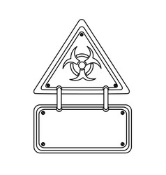 Silhouette metal biohazard warning notice sign vector