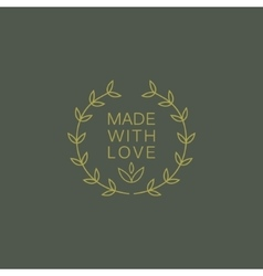 Simple floral green hand made trademark vector
