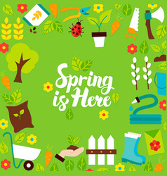 Spring is here lettering postcard vector
