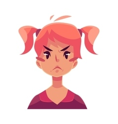 Teen girl face angry facial expression vector image vector image
