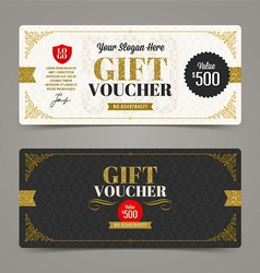Template gift voucher with glitter gold vector