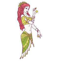 Tribal dancer or indian dancer girl in hand drawn vector