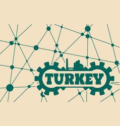 Turkey word build in gear vector
