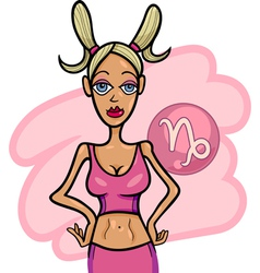 woman cartoon capricorn sign vector image vector image