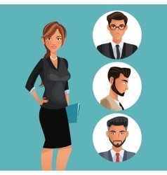 Woman employee office work men icons vector