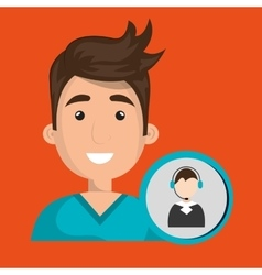 Man call center attention vector