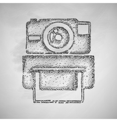 Old photocamera icon vector