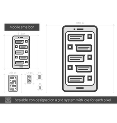 Mobile sms line icon vector
