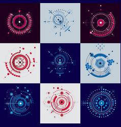 Technical blueprint set of digital backgrounds vector