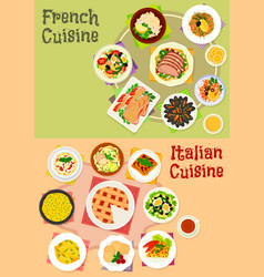 Italian and french cuisine dishes icon set design vector