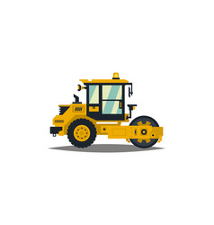 Yellow asphalt compactor isolated on white vector