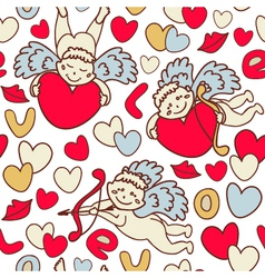 Cupids seamless pattern for valentines day vector