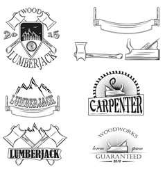 Set of vintage lumberjack labels emblems and desi vector