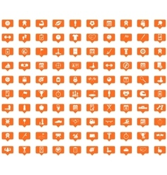Sport orange message icons set vector