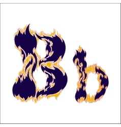 Fiery font blue letter b on a white background vector