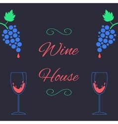Concept of wine house with bunch of grapes and vector