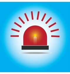 Siren red flashing emergency light vector
